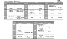 Calendario exámenes de Septiembre 2017