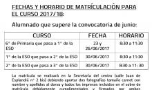 Matriculación alumnos propios de ESO y BTO
